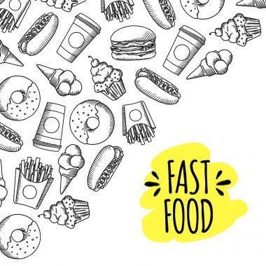 Fast food. Set of cartoon vector background.
