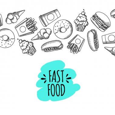 Fast food. Set of cartoon vector background.