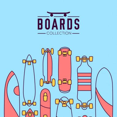 Skateboarding boards theme collection
