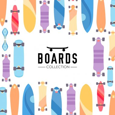 Skateboarding boards theme illustration