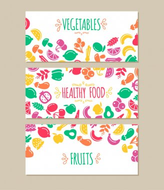 Healty food cartoon representing banners