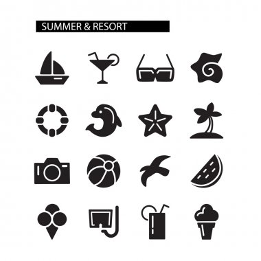 Summer time icons set