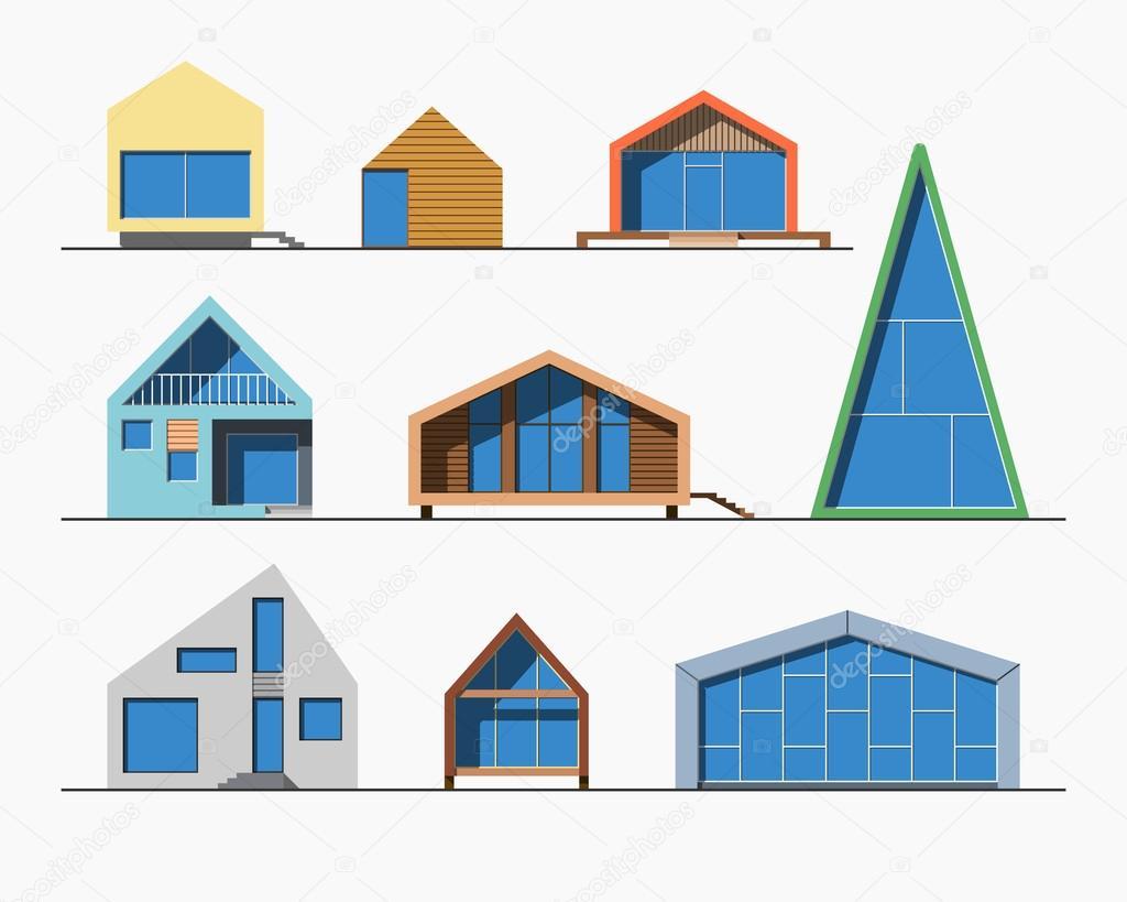 Kleine Hauser Linear 1 Farbe Stockvektor C Daseugen 100481086