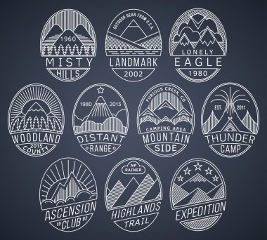 Mountain badges linear 2 white