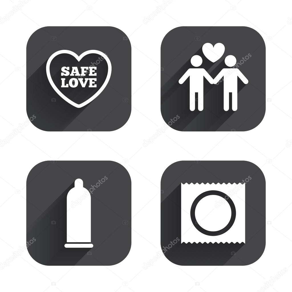 Safe Sex Vector Illustration Set Of Icons In Thin Line For Safe Sex On White Background Stock Vector