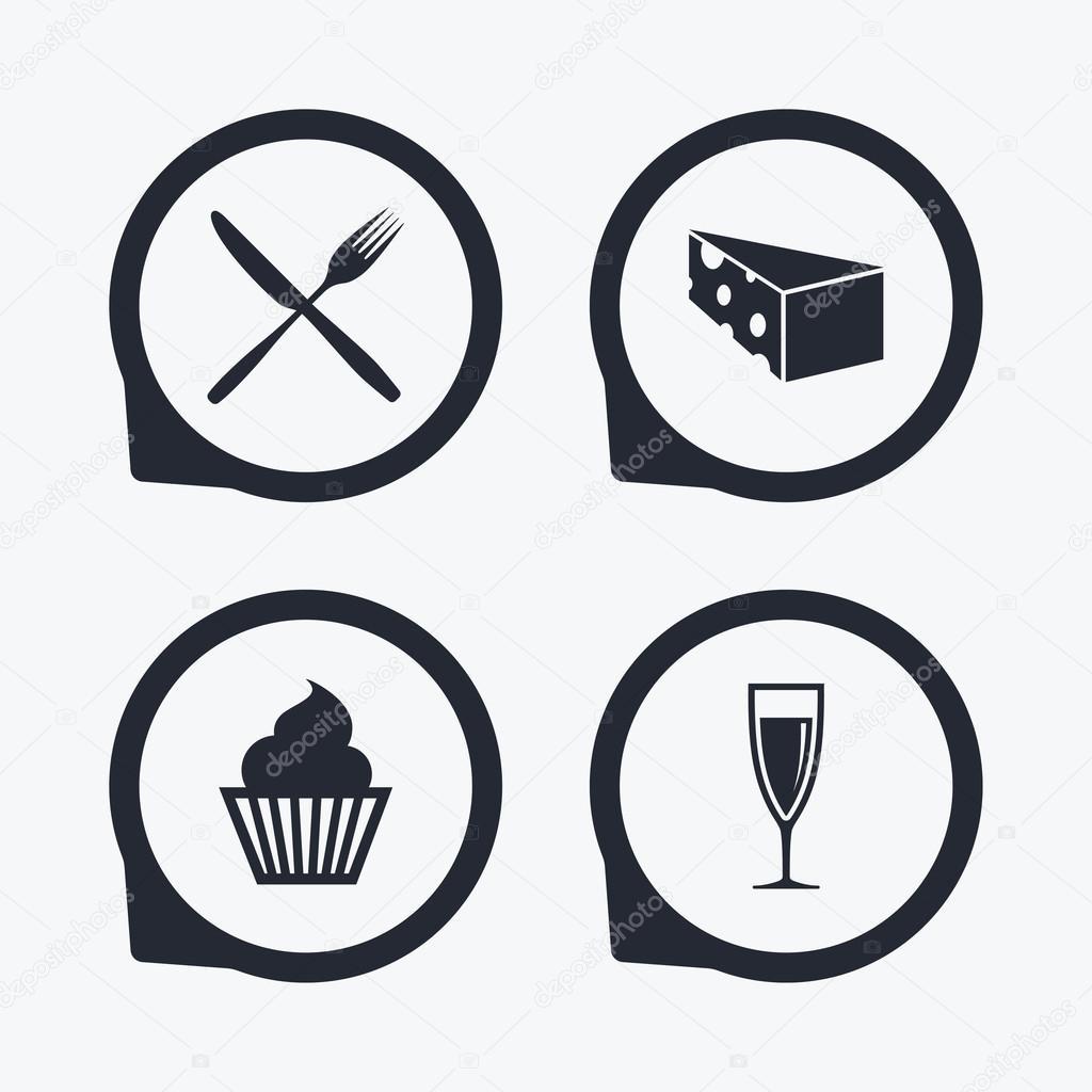 Food Icons Muffin Cupcake Symbol Stock Vector Blankstock 102696236
