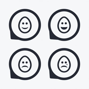 Eggs happy and sad faces signs.