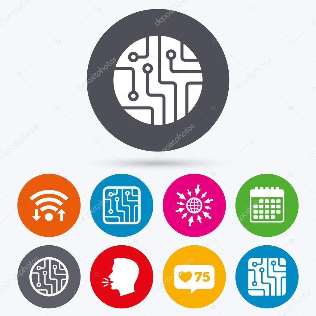 Circuito Que Habla : Signos del tablero de circuito u2014 archivo imágenes vectoriales