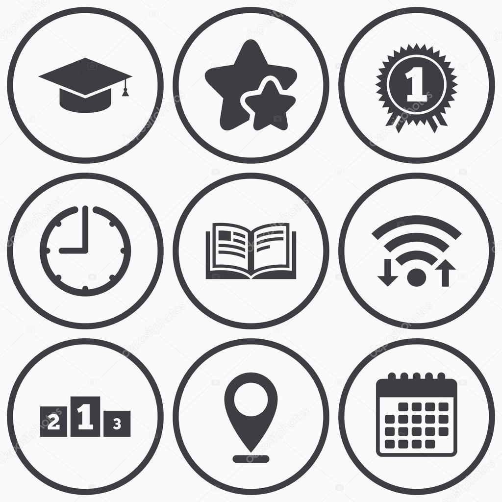 Abschluss-Symbole. Bildung-Buch-symbol — Stockvektor © Blankstock ...