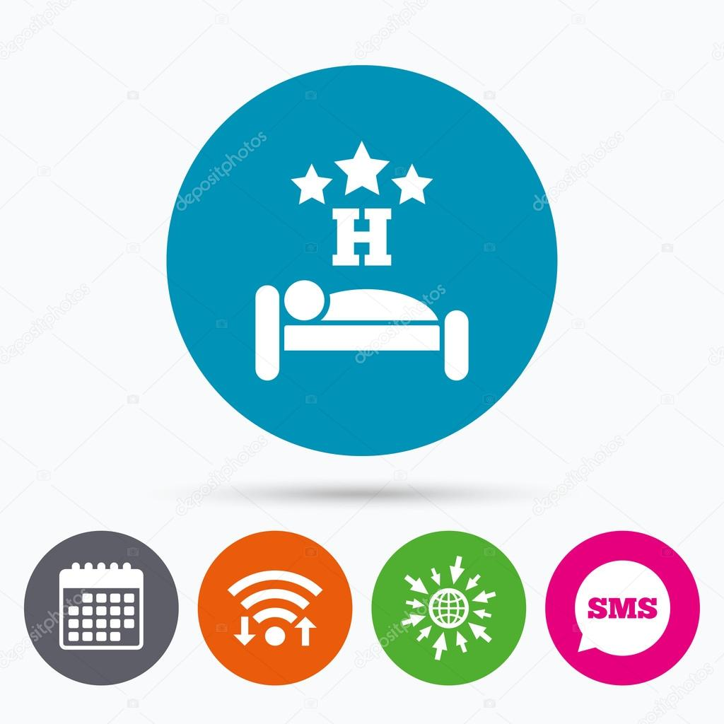 Three Star Hotel Sign Icon Rest Place Stock Vector Blankstock