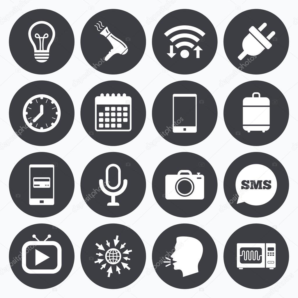 Haushaltsgeräte, Gerätesymbole. Elektronik-Zeichen — Stockvektor ...