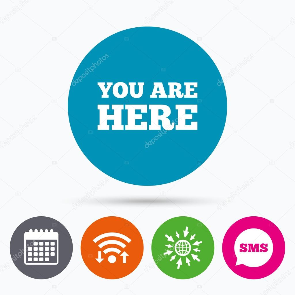 You Are Here Sign Icon Stock Vector Blankstock 105630308