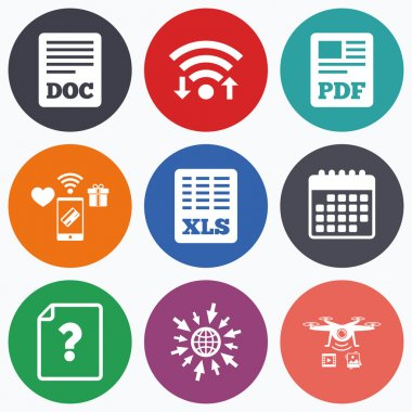 Document icons. XLS, PDF file