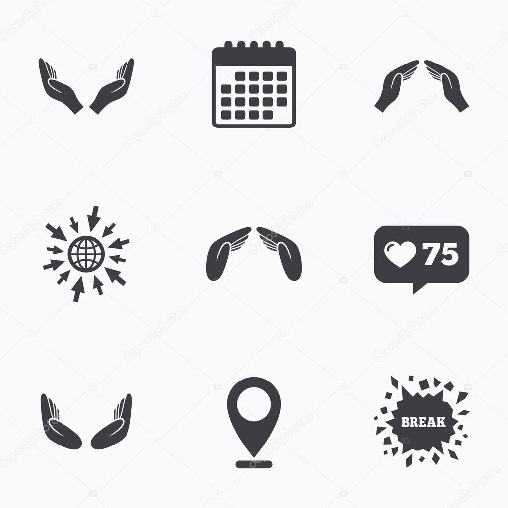 Hands Icons Insurance And Meditation Symbols Stock Vector