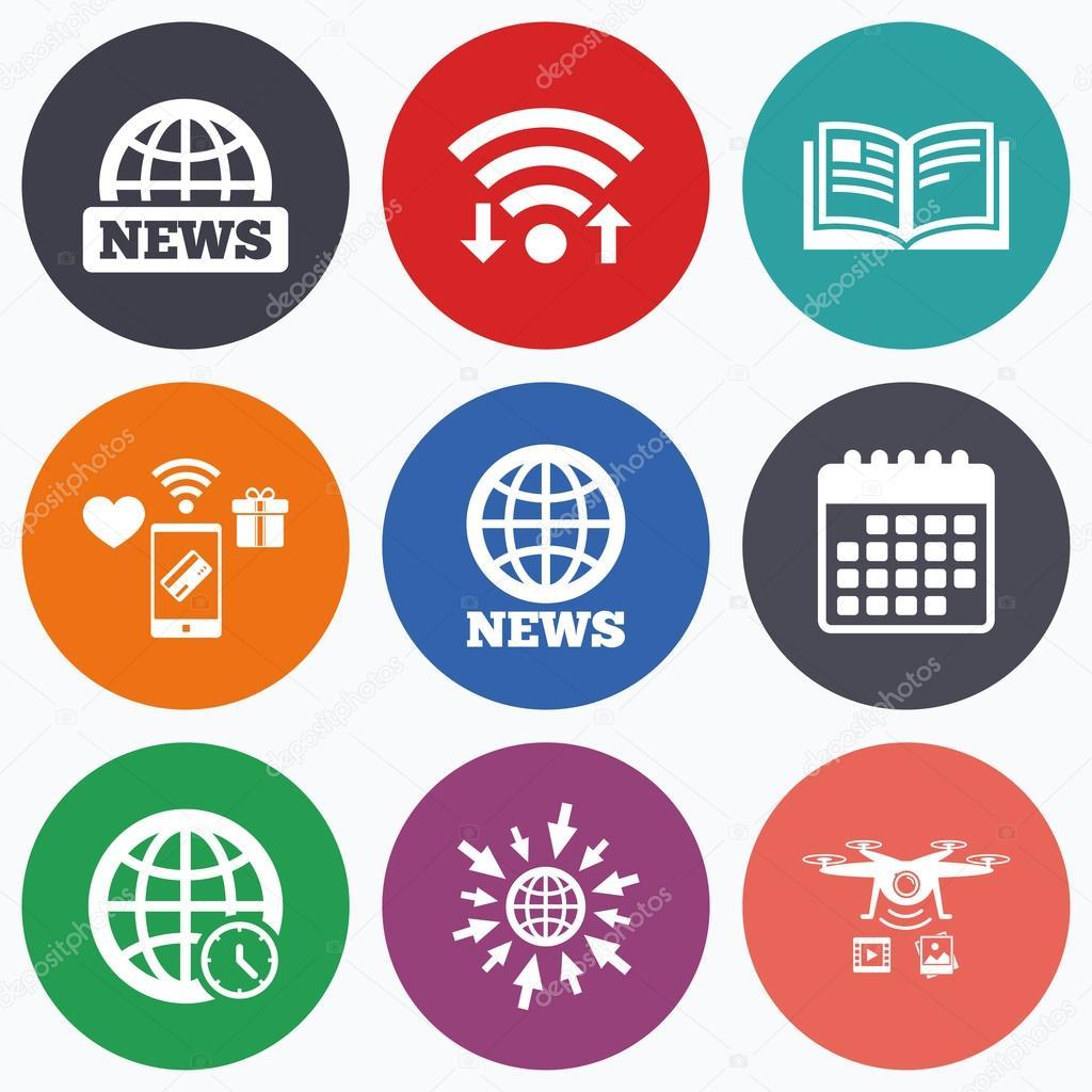 News icons  World globe symbols  Book sign  — Stock Vector
