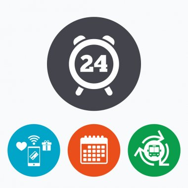 24 hours time sign icon.