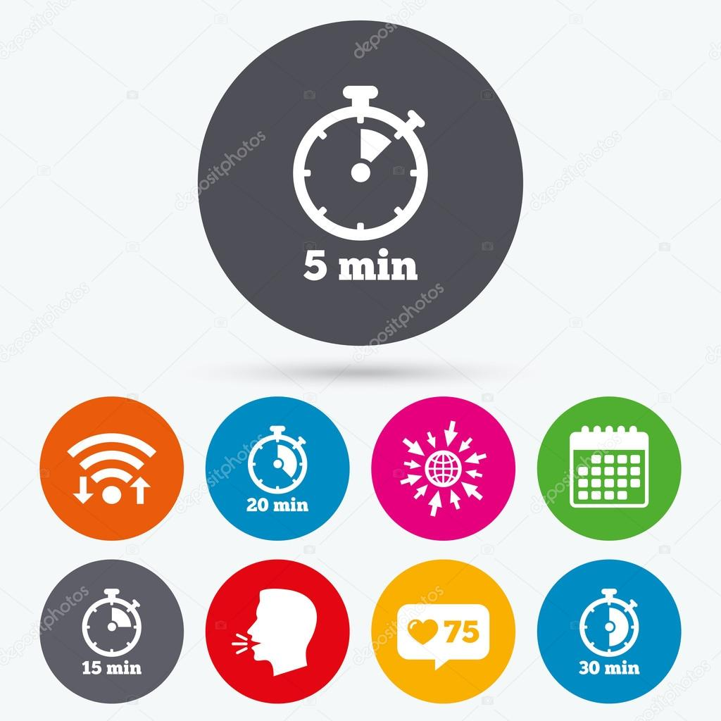 timer icons five minutes stopwatch stock vector blankstock