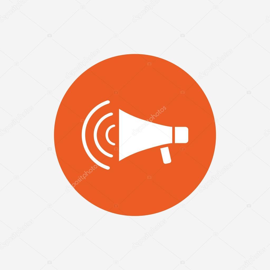 Megaphone sign icon stock vector blankstock 109281344 megaphone sign icon loudspeaker strike symbol orange circle button with icon vector vector by blankstock publicscrutiny Gallery