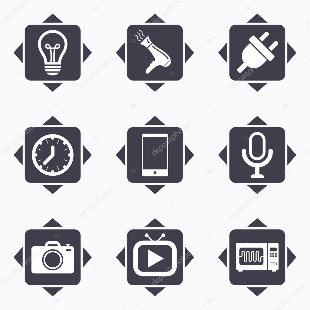Home appliances, device icons. — Stock Vector © Blankstock #109282790