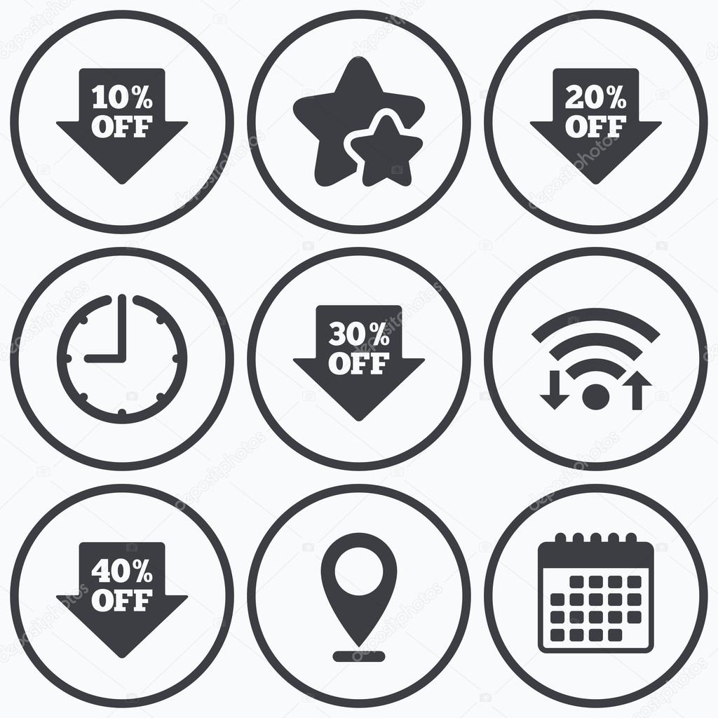 Sale arrow tag icons. Discount off symbols. — Stock Vector ...