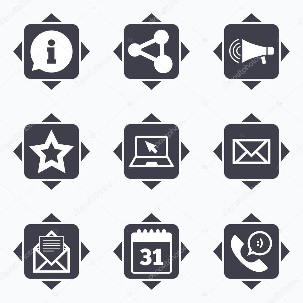 Communication icons contact mail signs stock vector icons with direction arrows communication icons contact mail signs e mail information speech bubble and calendar symbols square buttons biocorpaavc Gallery
