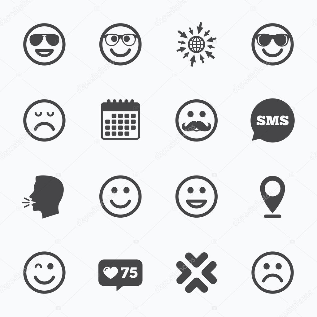 Smile icons sunglasses mustache and laughing stock vector smile icons happy sad and wink faces signs sunglasses mustache and laughing lol smiley symbols sms speech bubble talk symbols vector by blankstock biocorpaavc Image collections