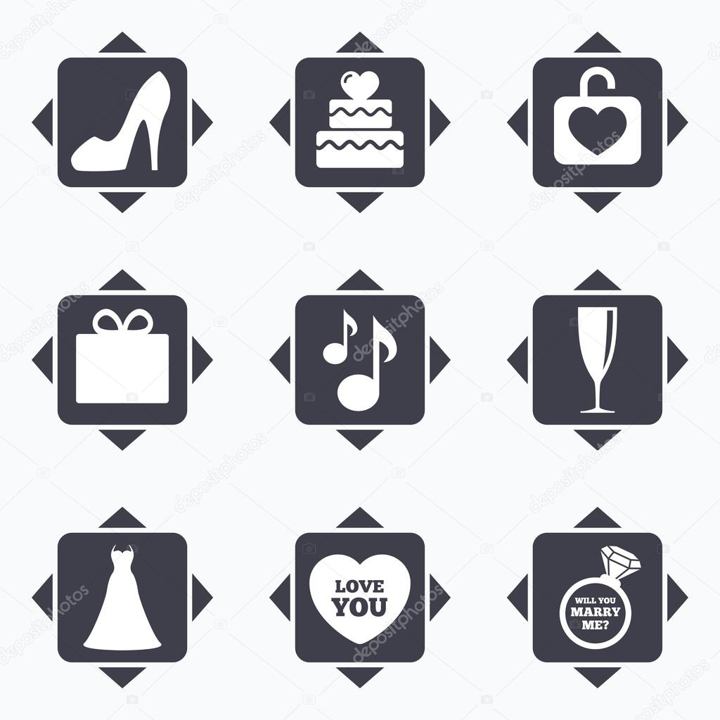 Hochzeit Engagement Symbole Stockvektor C Blankstock 112406550