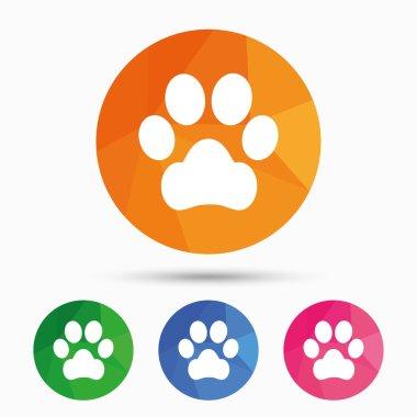Dog paw sign icons