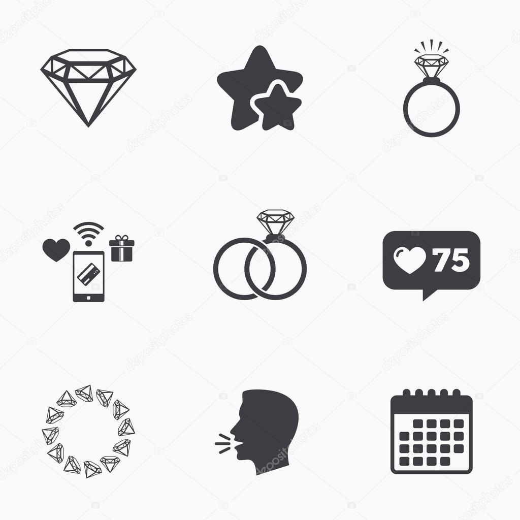 Ringe Symbole Schmuck Mit Diamanten Zeichen Stockvektor