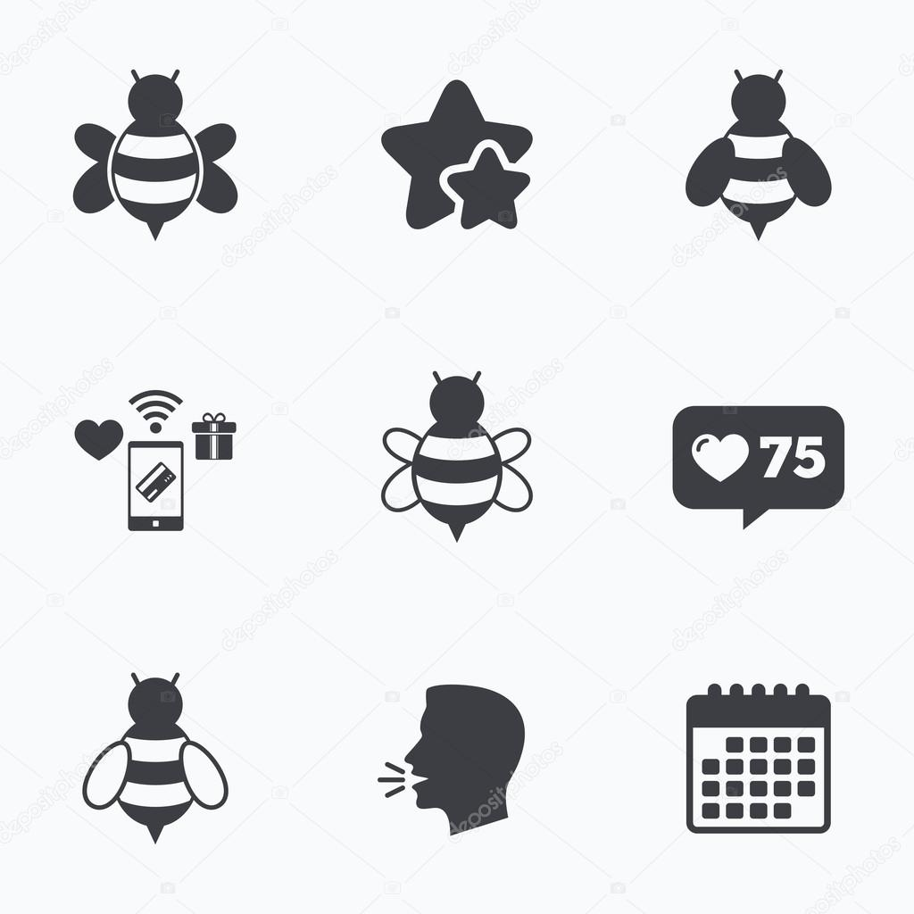 Honey bees icons bumblebees symbols stock vector blankstock honey bees icons bumblebees symbols stock vector biocorpaavc