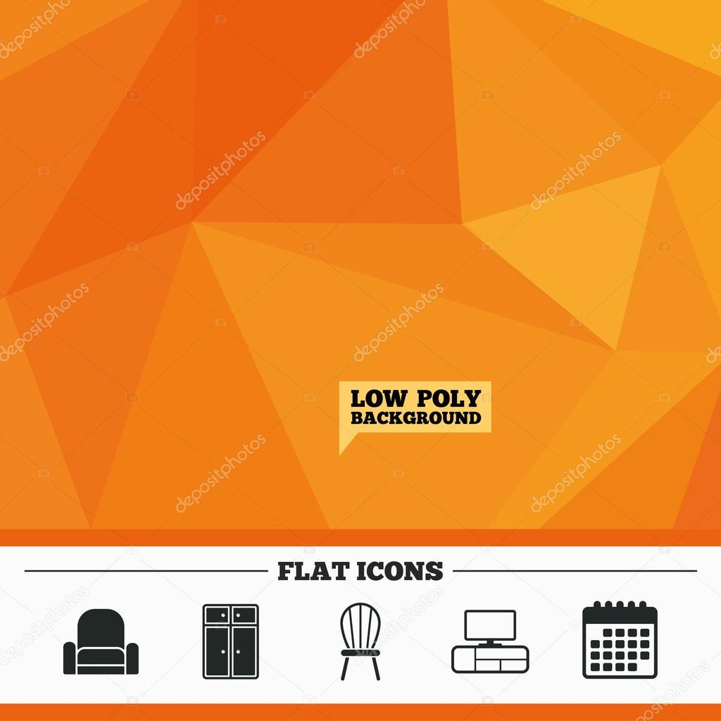triangular low poly orange background furniture icons cupboard chair and tv table signs modern armchair symbol calendar flat icon