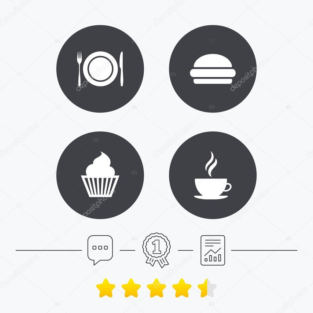 Food Icons Muffin Cupcake Symbol Stock Vector Blankstock