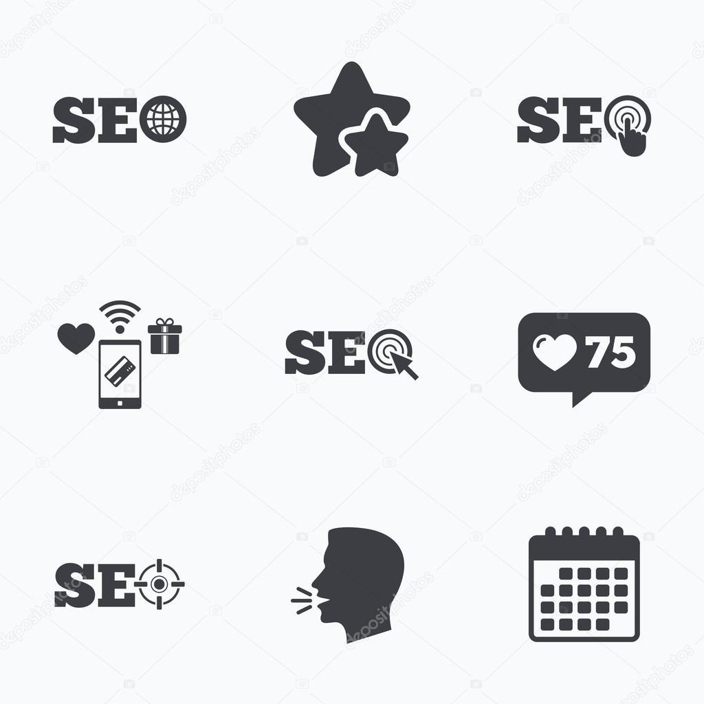 Seo Icons Search Engine Optimization Symbols Stock Vector
