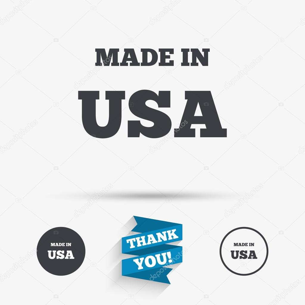 Made in the usa icon export production symbol stock vector made in the usa icon export production symbol product created in america sign flat icons buttons with icons thank you ribbon buycottarizona