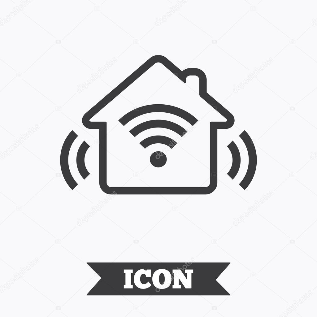 smart home sign icon  smart house button   u2014 stock vector