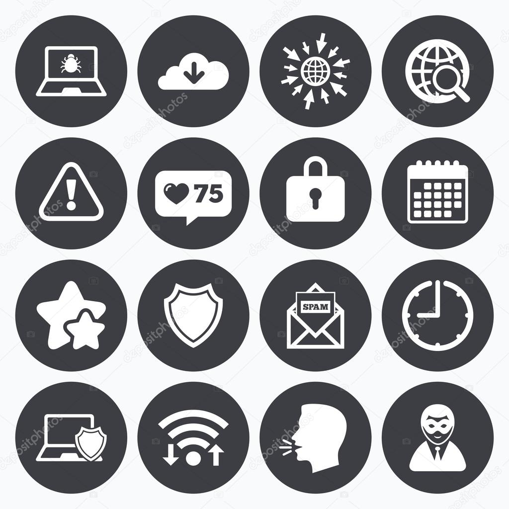 Internet privacy icons cyber crime signs stock vector like counter stars symbols internet privacy icons cyber crime signs virus spam e mail and anonymous user symbols talking head go to web symbols biocorpaavc