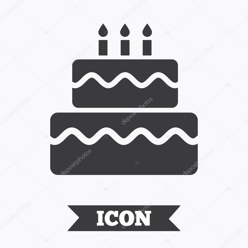 Phenomenal Birthday Cake Sign Icon Stock Vector C Blankstock 117992478 Funny Birthday Cards Online Inifodamsfinfo