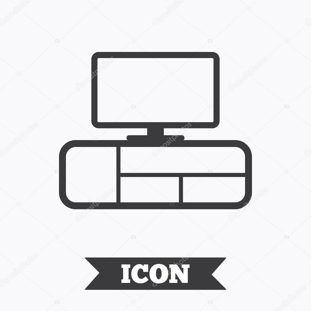 tv table sign icon modern furniture symbol graphic design element flat tv table symbol on white background vector vektor von blankstock