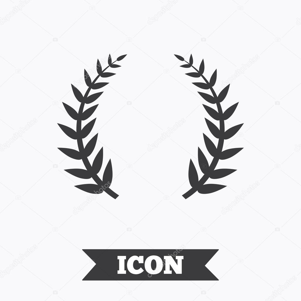 laurel wreath sign icon  triumph symbol   u2014 stock vector