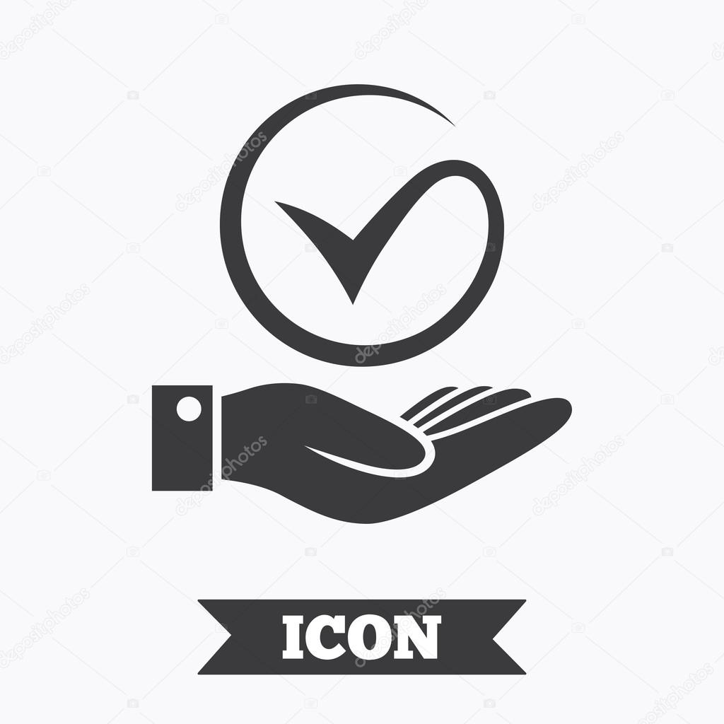 Tick And Hand Sign Palm Holds Check Mark Symbol Stock Vector