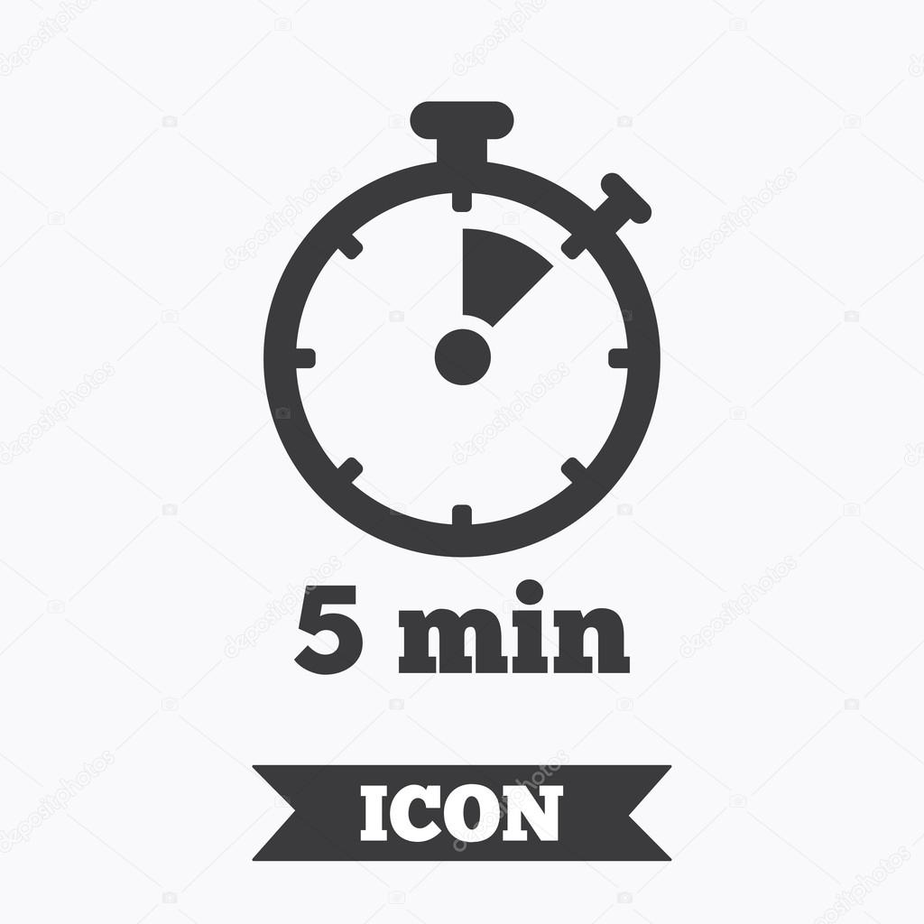 timer sign icon 5 minutes stopwatch symbol stock vector