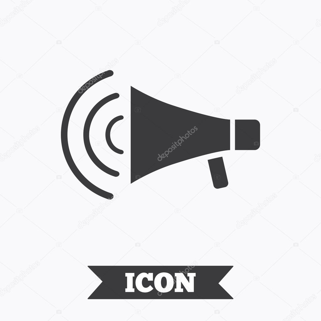 Megaphone sign icon  Loudspeaker strike symbol  — Stock
