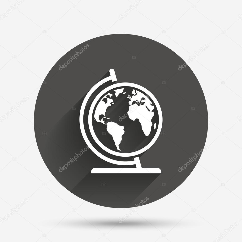 Globe world map icon vector de stock blankstock 120161136 world map geography symbol globe on stand for studying circle flat button with shadow vector vector de blankstock gumiabroncs Gallery