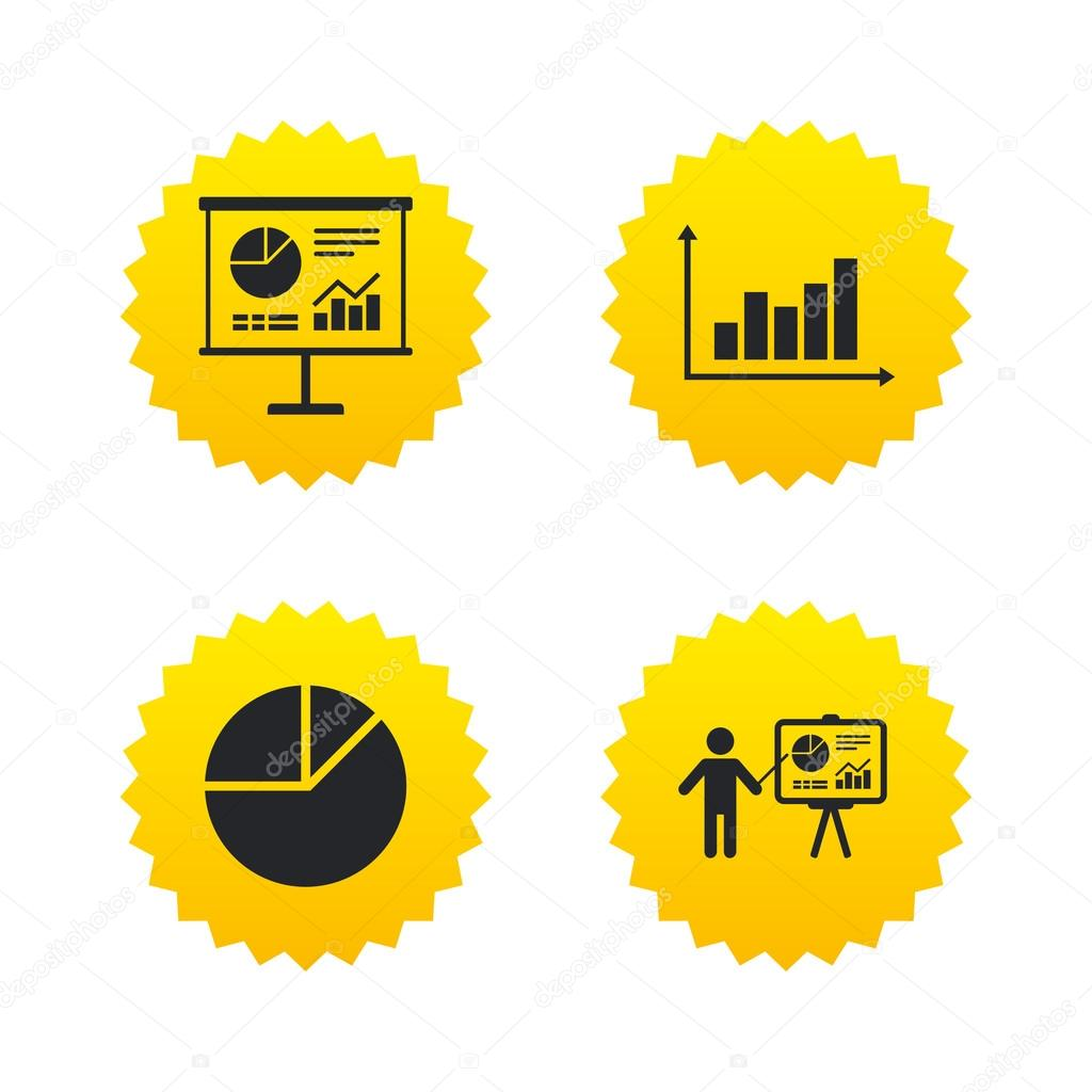 Diagram graph chart presentation icons vetor de stock diagram graph pie chart icon presentation billboard symbol supply and demand man standing with pointer yellow stars labels with flat icons ccuart Choice Image