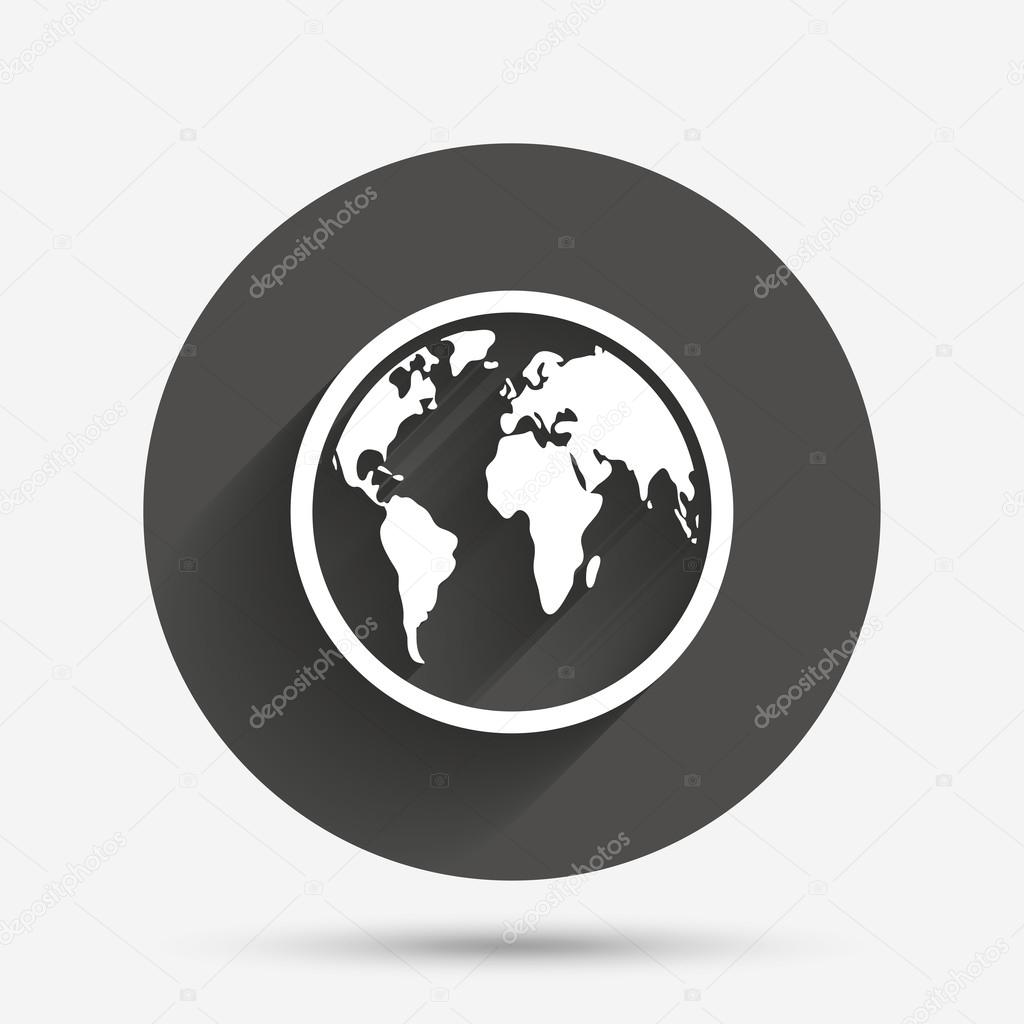 Globe sign world map symbol archivo imgenes vectoriales world map geography symbol circle flat button with shadow vector vector de blankstock gumiabroncs Gallery