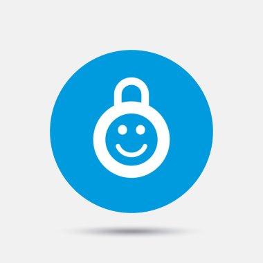 Child lock icon. Locker with smile symbol.