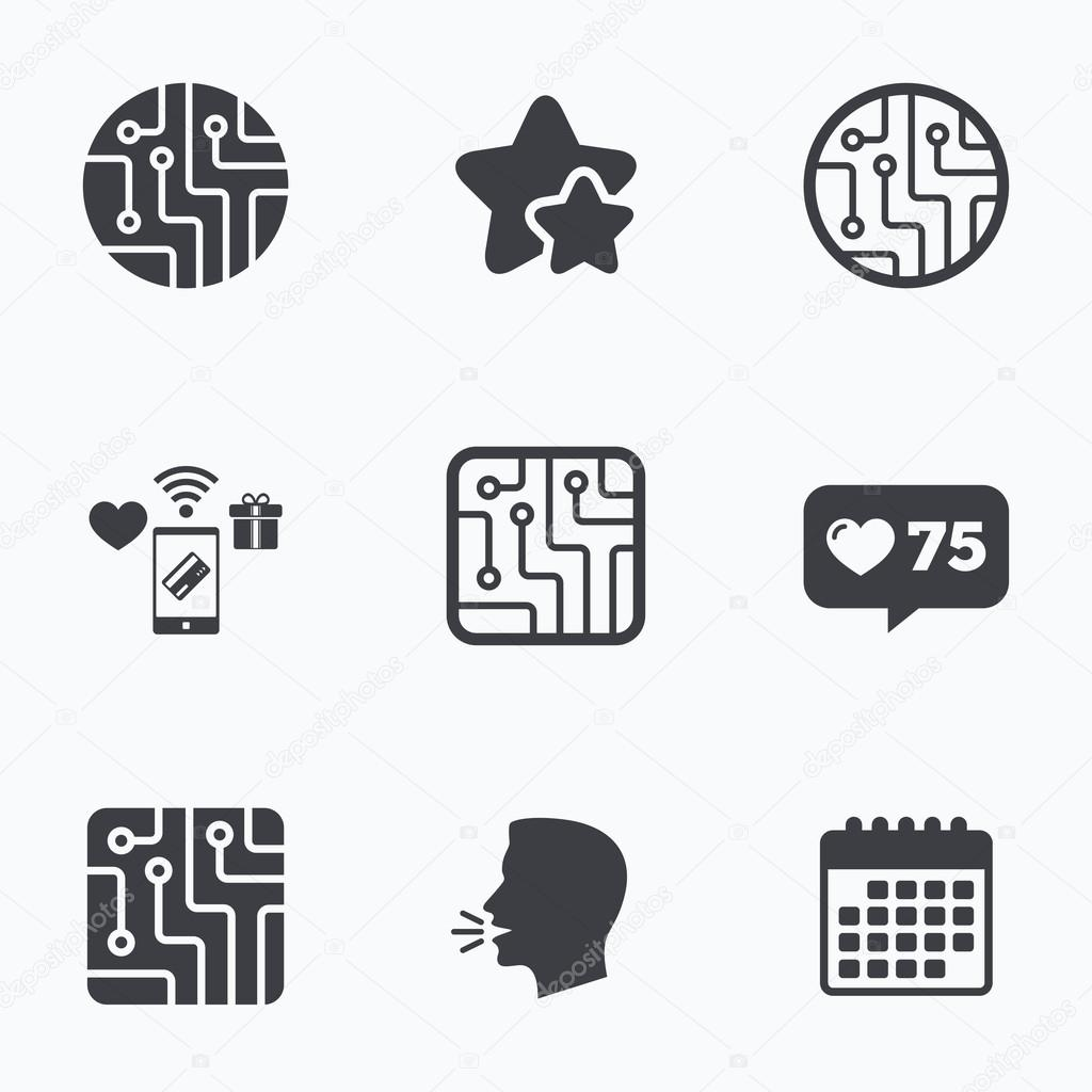 Circuit board signs. Technology scheme icons. — Stock Vector ...