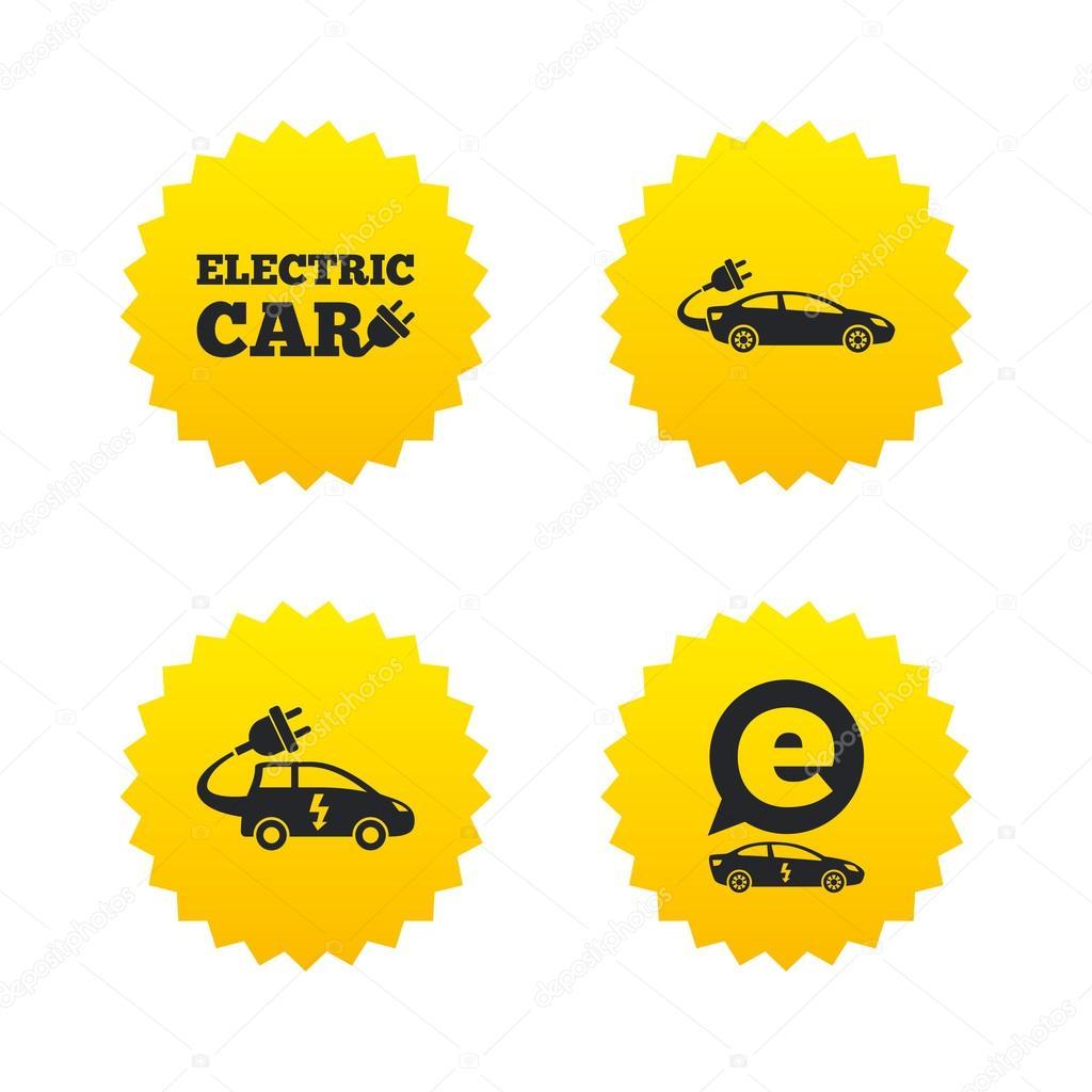 Electric car icons — Stock Vector © Blankstock #120178076
