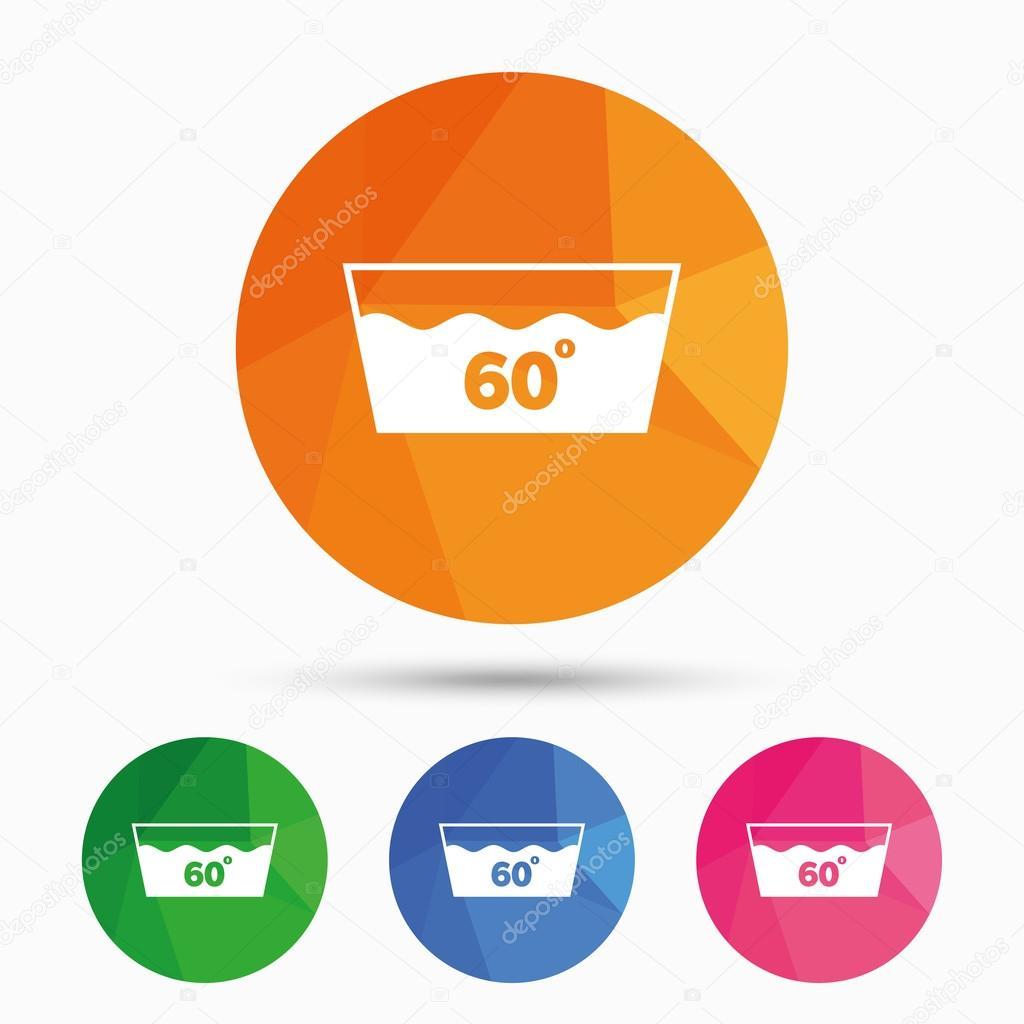 ic ne de lavage lavable en machine 60 degr s symbole image vectorielle blankstock 121301586. Black Bedroom Furniture Sets. Home Design Ideas
