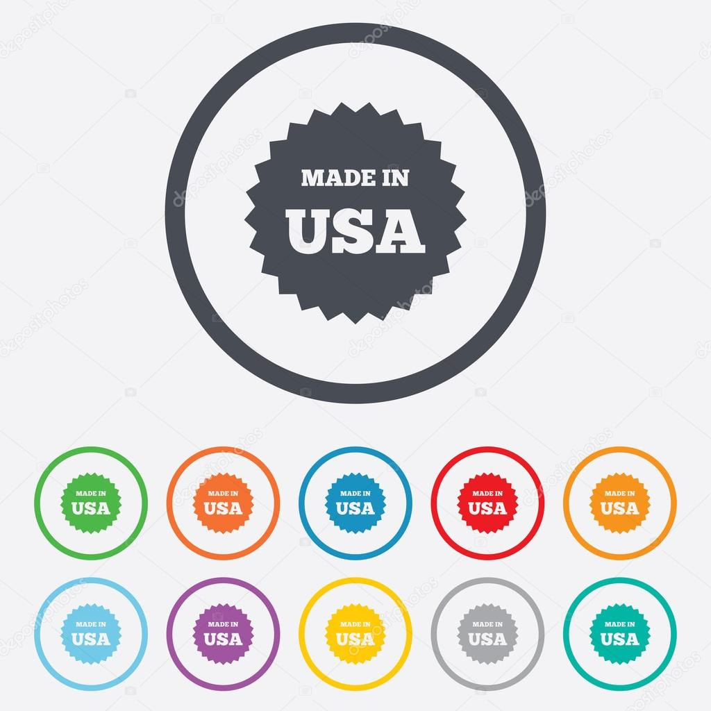 Made in the usa icon stock vector blankstock 121314910 made in the usa icon export production symbol product created in america sign round circle buttons with frame vector vector by blankstock buycottarizona